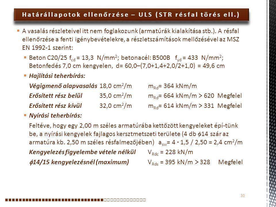 Határállapotok ellenőrzése – ULS (STR résfal törés ell.)