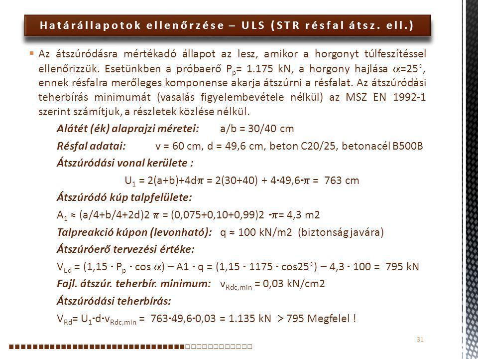 Határállapotok ellenőrzése – ULS (STR résfal átsz. ell.)