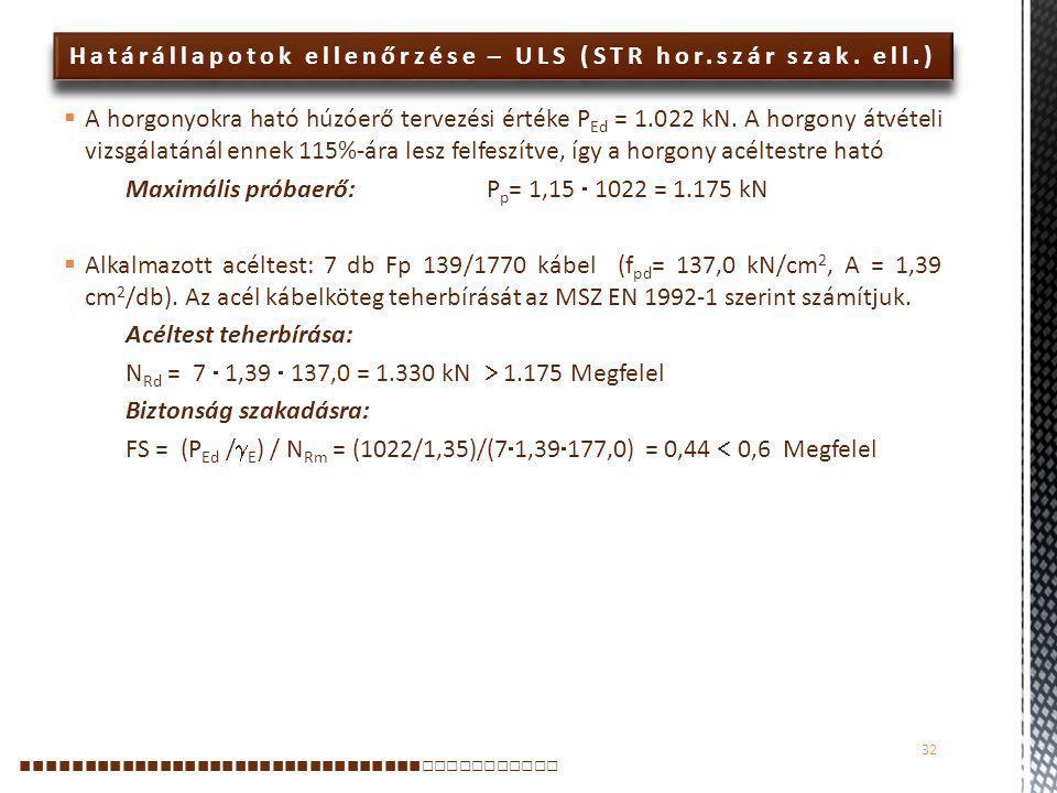 Határállapotok ellenőrzése – ULS (STR hor.szár szak. ell.)