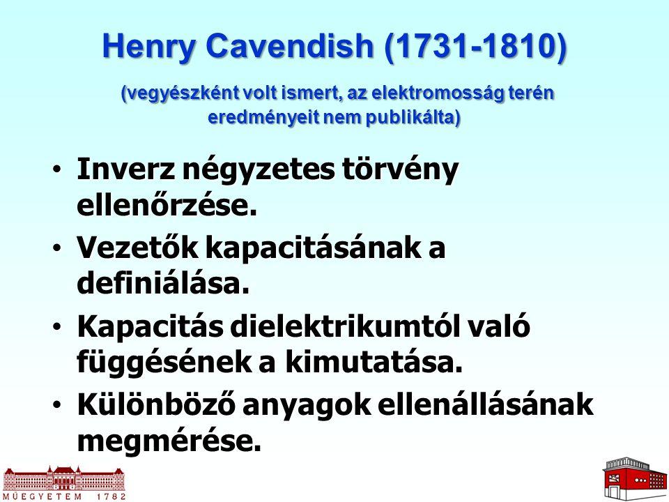 Henry Cavendish (1731-1810) Inverz négyzetes törvény ellenőrzése.