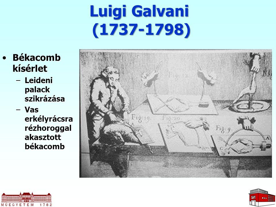 Luigi Galvani (1737-1798) Békacomb kísérlet Leideni palack szikrázása