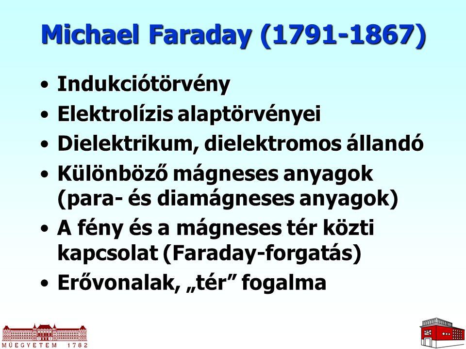 Michael Faraday (1791-1867) Indukciótörvény Elektrolízis alaptörvényei