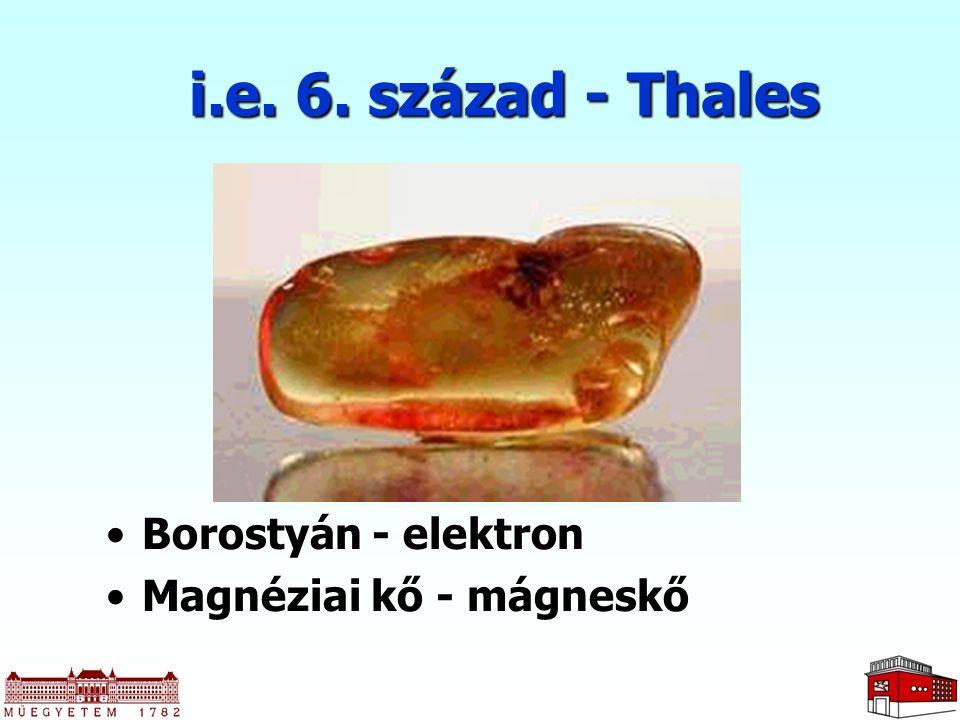 i.e. 6. század - Thales Borostyán - elektron Magnéziai kő - mágneskő
