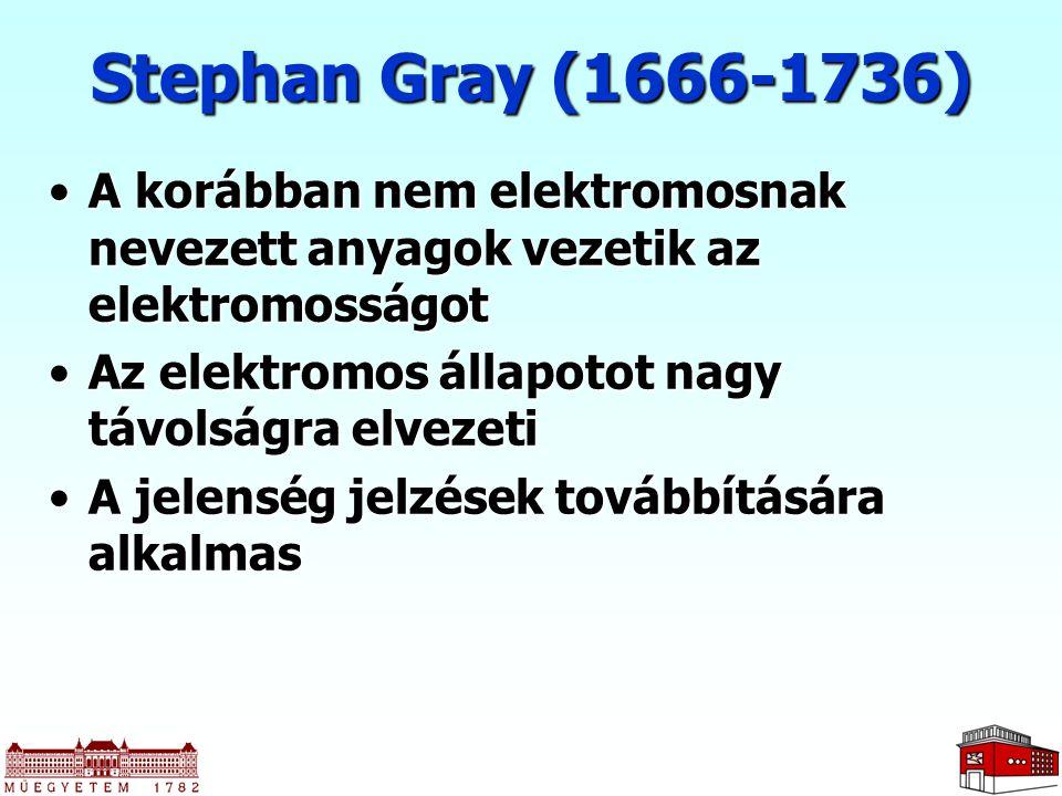 Stephan Gray (1666-1736) A korábban nem elektromosnak nevezett anyagok vezetik az elektromosságot. Az elektromos állapotot nagy távolságra elvezeti.
