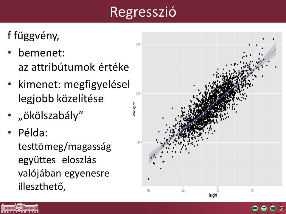 Regresszió f függvény, bemenet: az attribútumok értéke,
