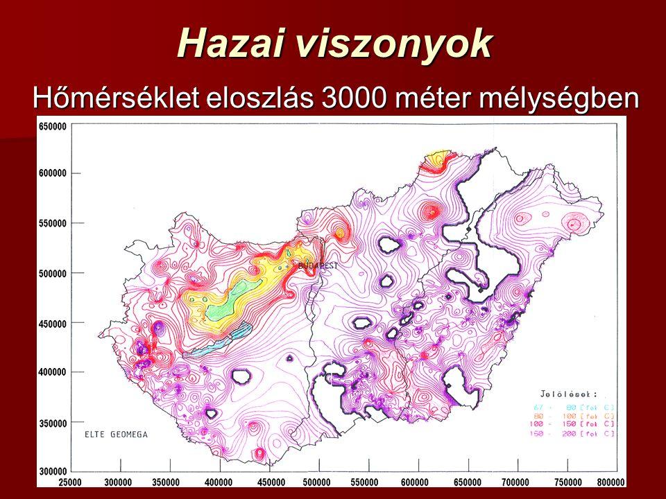 Hazai viszonyok Hőmérséklet eloszlás 3000 méter mélységben