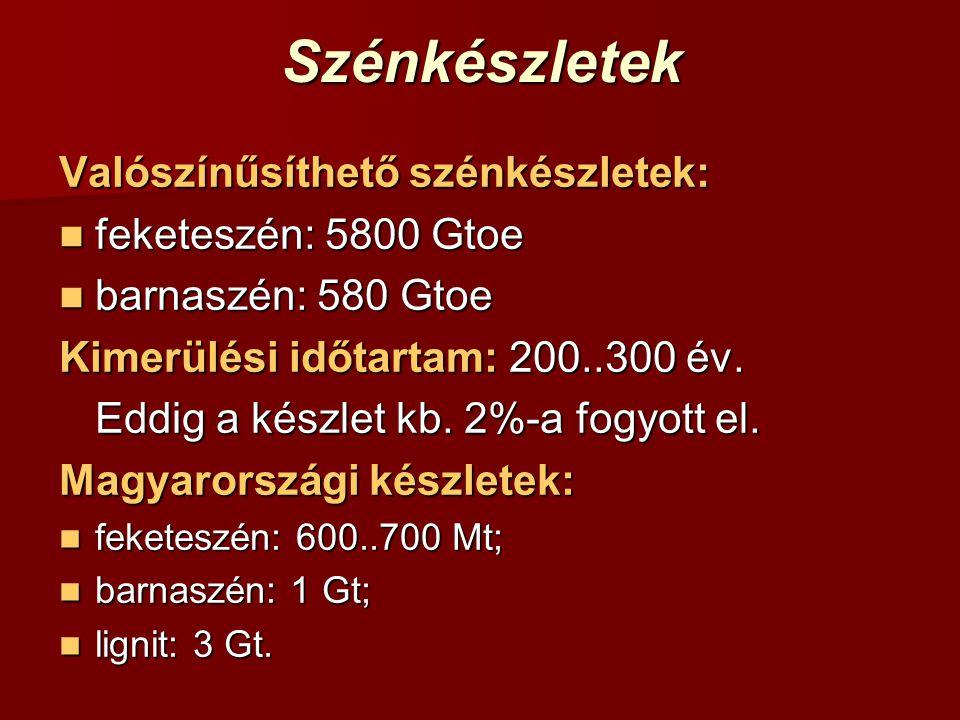 Szénkészletek Valószínűsíthető szénkészletek: feketeszén: 5800 Gtoe