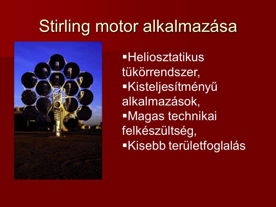 Stirling motor alkalmazása