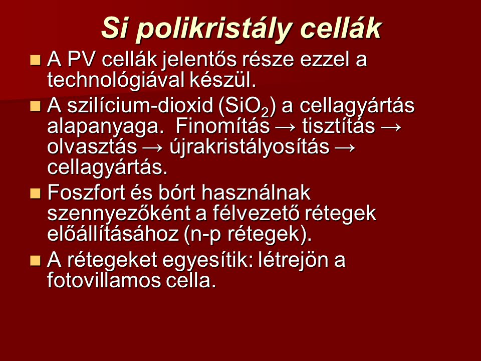 Si polikristály cellák
