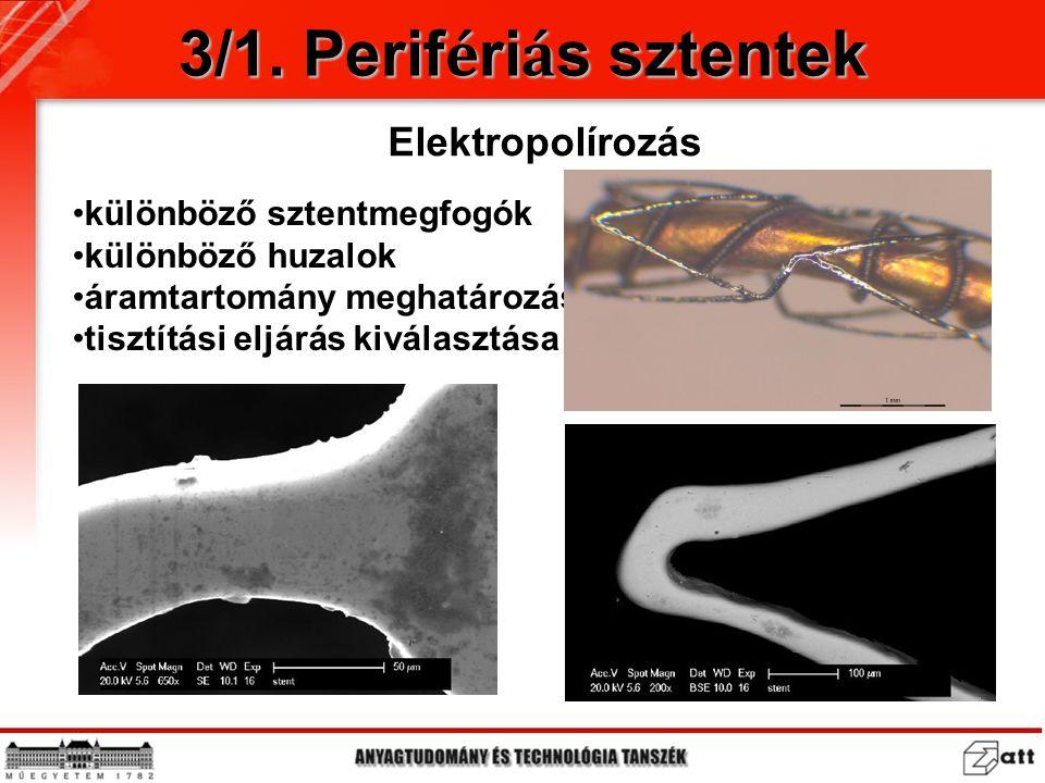 3/1. Perifériás sztentek Elektropolírozás különböző sztentmegfogók