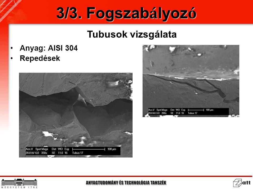 3/3. Fogszabályozó Tubusok vizsgálata Anyag: AISI 304 Repedések