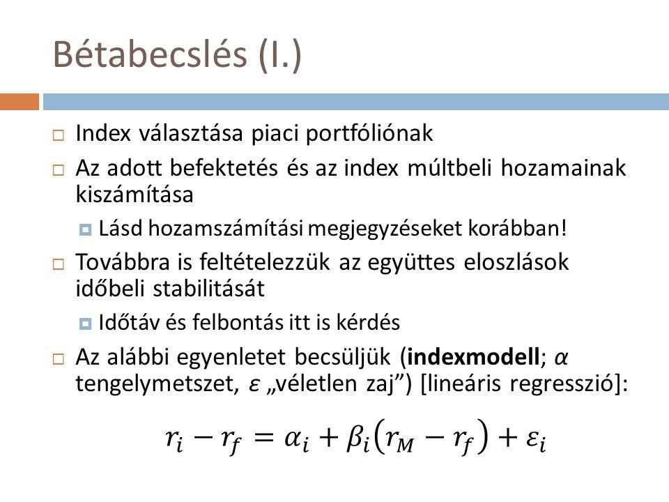 Bétabecslés (I.) 𝑟 𝑖 − 𝑟 𝑓 = 𝛼 𝑖 + 𝛽 𝑖 𝑟 𝑀 − 𝑟 𝑓 + 𝜀 𝑖