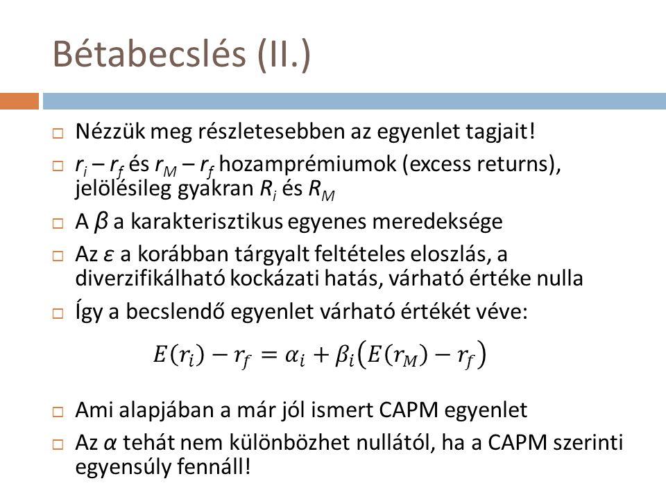 Bétabecslés (II.) Nézzük meg részletesebben az egyenlet tagjait!