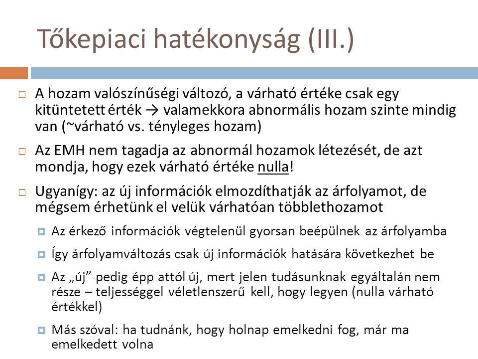 Tőkepiaci hatékonyság (III.)