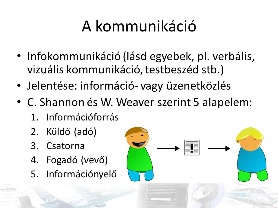 A kommunikáció Infokommunikáció (lásd egyebek, pl. verbális, vizuális kommunikáció, testbeszéd stb.)
