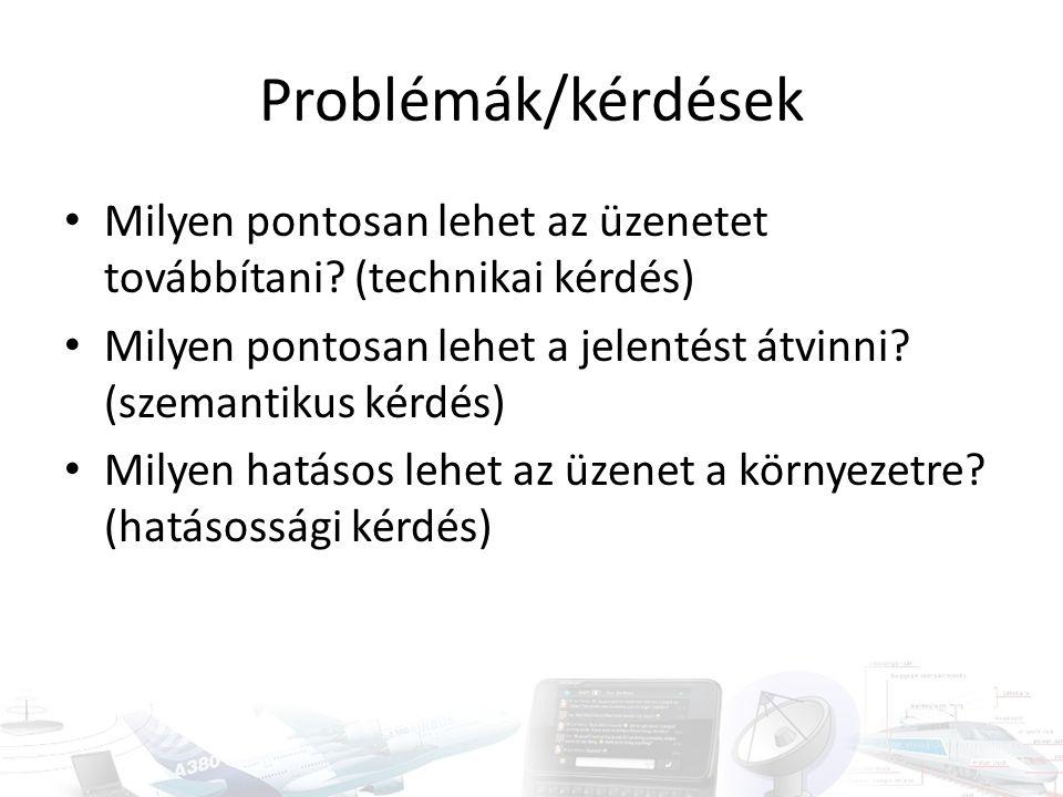 Problémák/kérdések Milyen pontosan lehet az üzenetet továbbítani (technikai kérdés) Milyen pontosan lehet a jelentést átvinni (szemantikus kérdés)