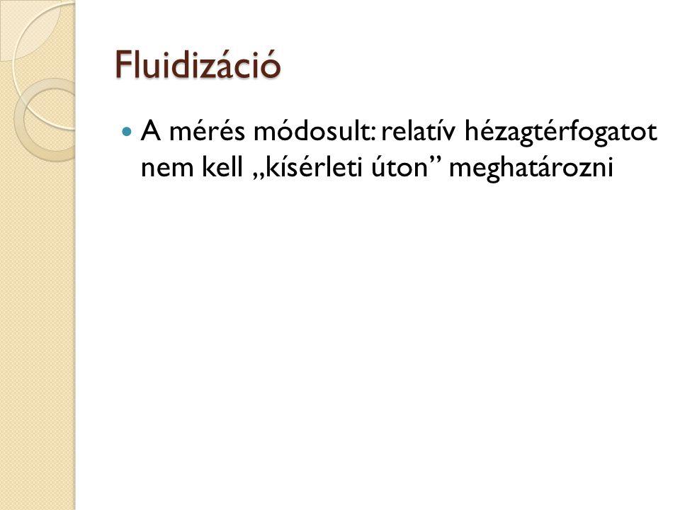 """Fluidizáció A mérés módosult: relatív hézagtérfogatot nem kell """"kísérleti úton meghatározni"""