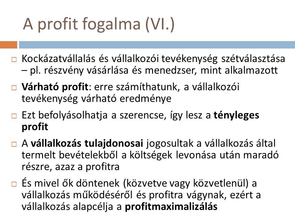 A profit fogalma (VI.) Kockázatvállalás és vállalkozói tevékenység szétválasztása – pl. részvény vásárlása és menedzser, mint alkalmazott.