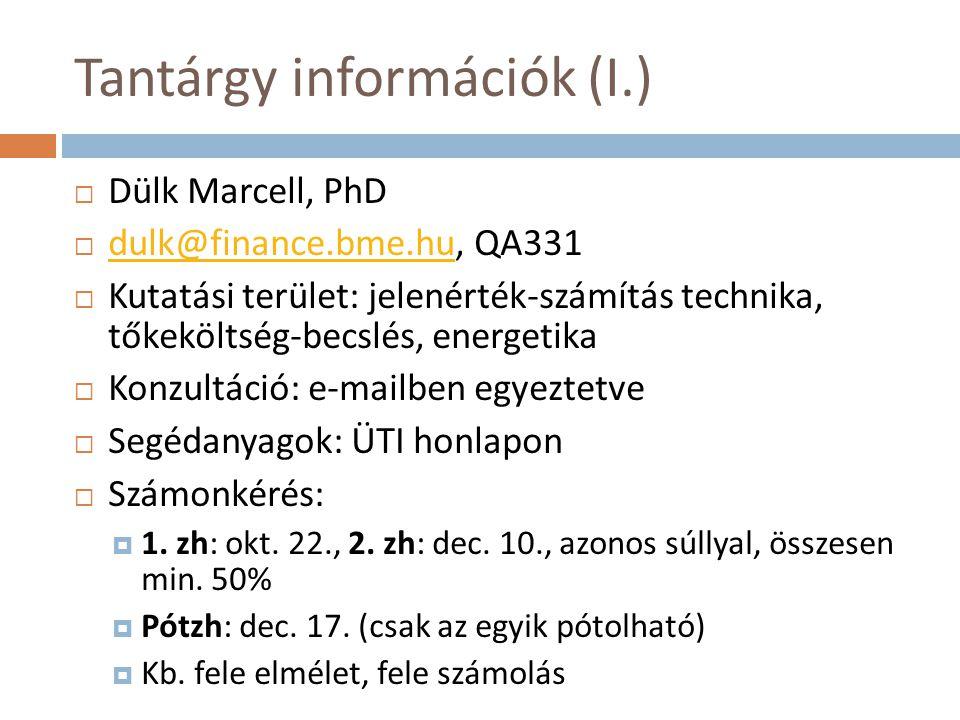 Tantárgy információk (I.)