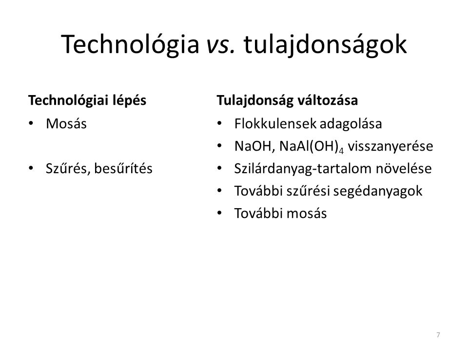 Technológia vs. tulajdonságok