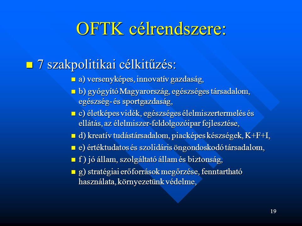 OFTK célrendszere: 7 szakpolitikai célkitűzés: