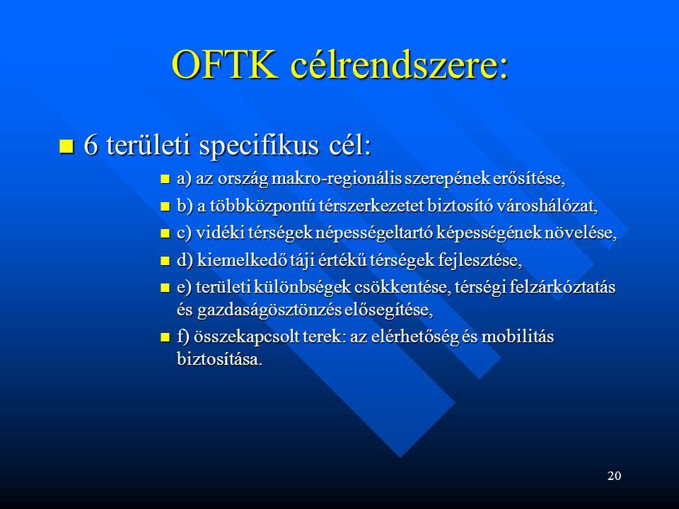 OFTK célrendszere: 6 területi specifikus cél: