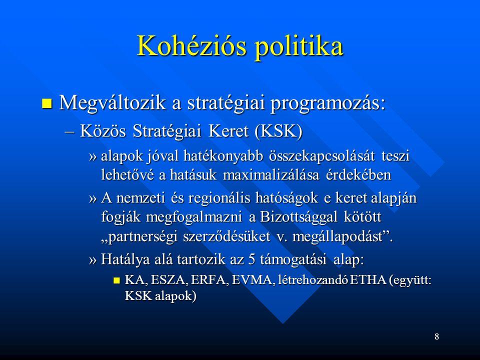 Kohéziós politika Megváltozik a stratégiai programozás: