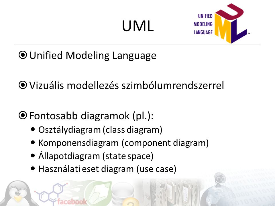 UML Unified Modeling Language Vizuális modellezés szimbólumrendszerrel