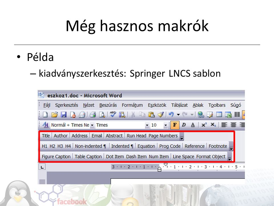 Még hasznos makrók Példa kiadványszerkesztés: Springer LNCS sablon