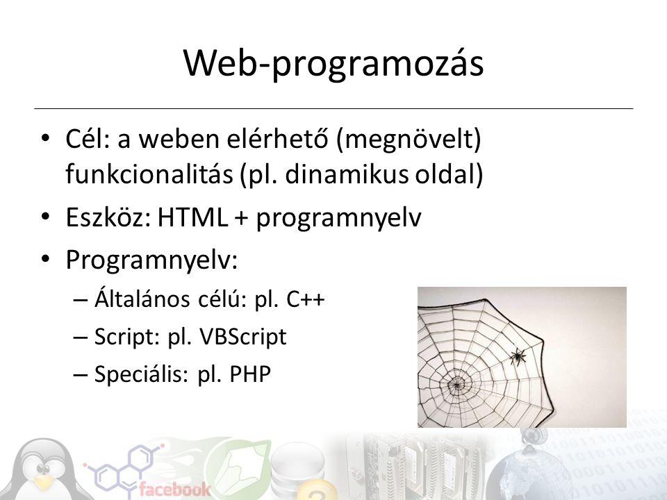 Web-programozás Cél: a weben elérhető (megnövelt) funkcionalitás (pl. dinamikus oldal) Eszköz: HTML + programnyelv.