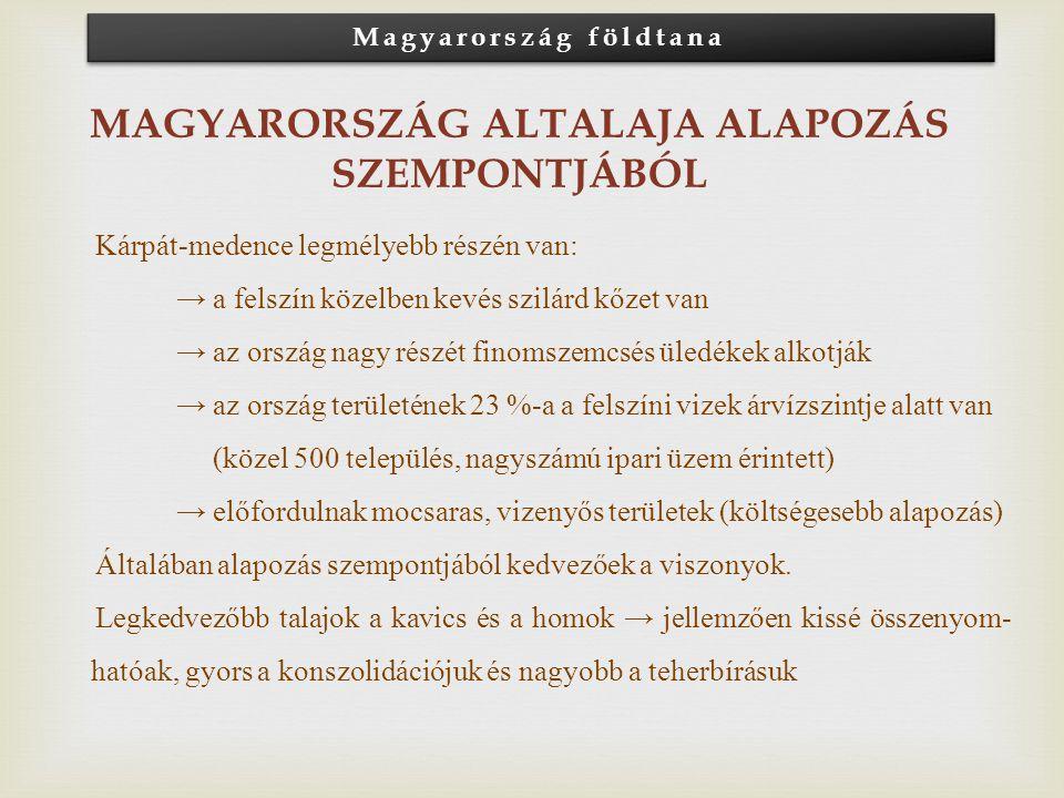Magyarország földtana Magyarország altalaja alapozás szempontjából