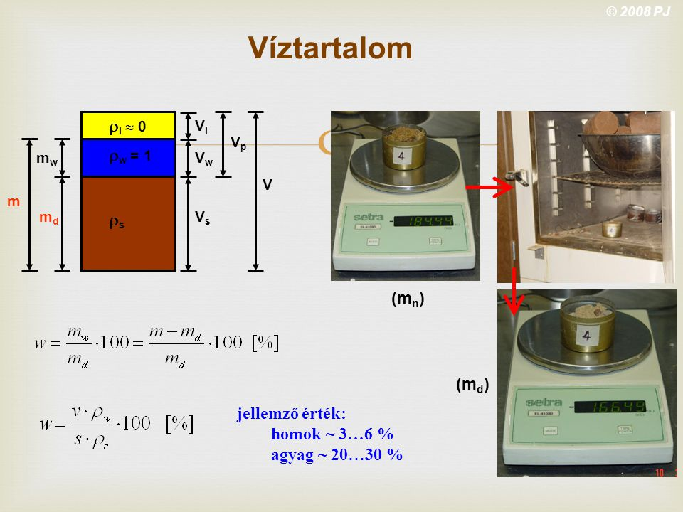 Víztartalom rl  0 rw = 1 rs (mn) (md) jellemző érték: homok ~ 3…6 %