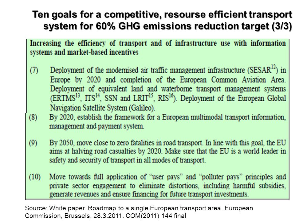 Ten goals for a competitive, resourse efficient transport system for 60% GHG emissions reduction target (3/3)