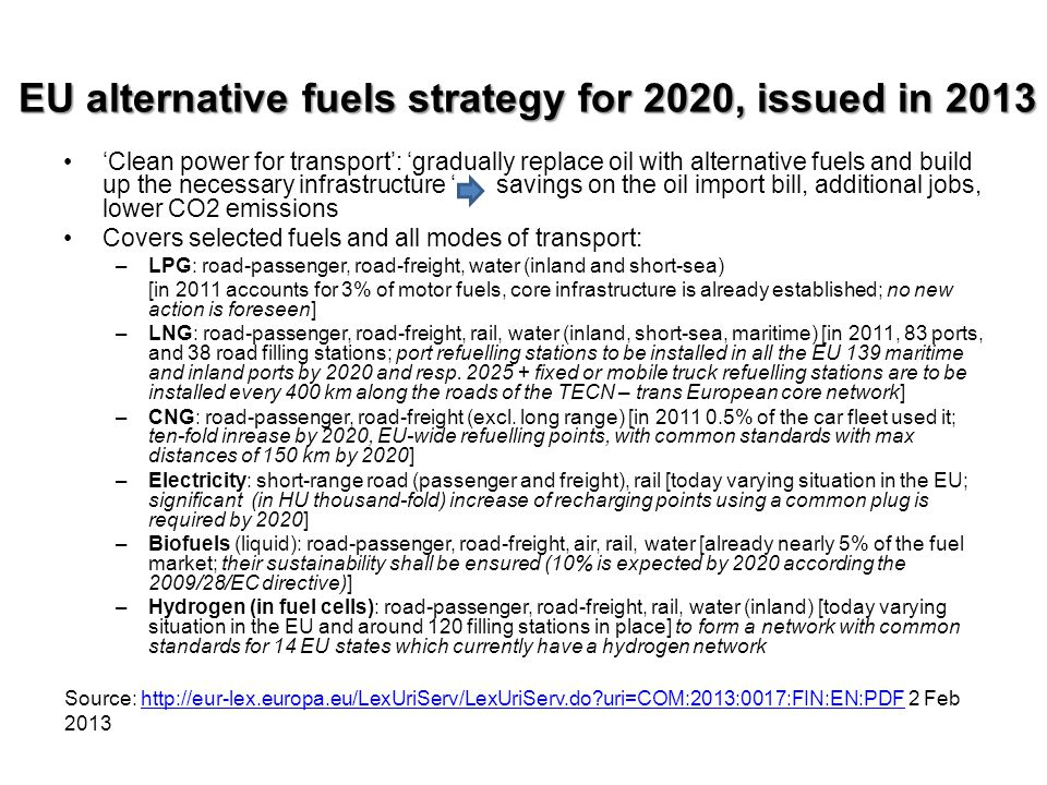EU alternative fuels strategy for 2020, issued in 2013