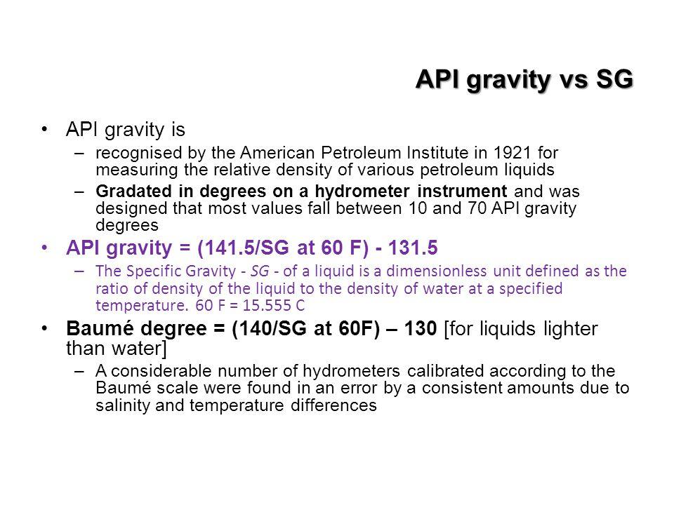 API gravity vs SG API gravity is