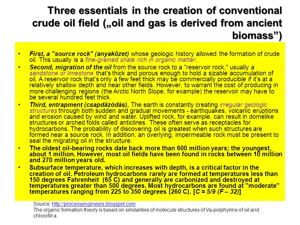 "Three essentials in the creation of conventional crude oil field (""oil and gas is derived from ancient biomass )"