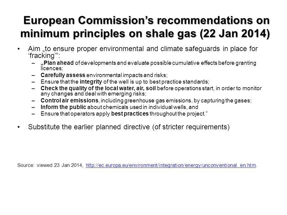 European Commission's recommendations on minimum principles on shale gas (22 Jan 2014)