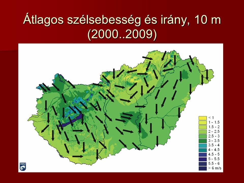 Átlagos szélsebesség és irány, 10 m (2000..2009)