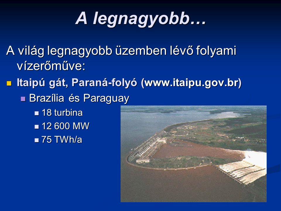 A legnagyobb… A világ legnagyobb üzemben lévő folyami vízerőműve: