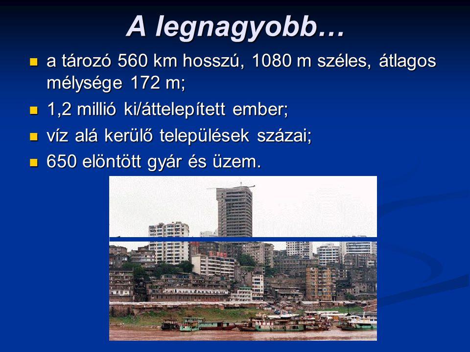 A legnagyobb… a tározó 560 km hosszú, 1080 m széles, átlagos mélysége 172 m; 1,2 millió ki/áttelepített ember;