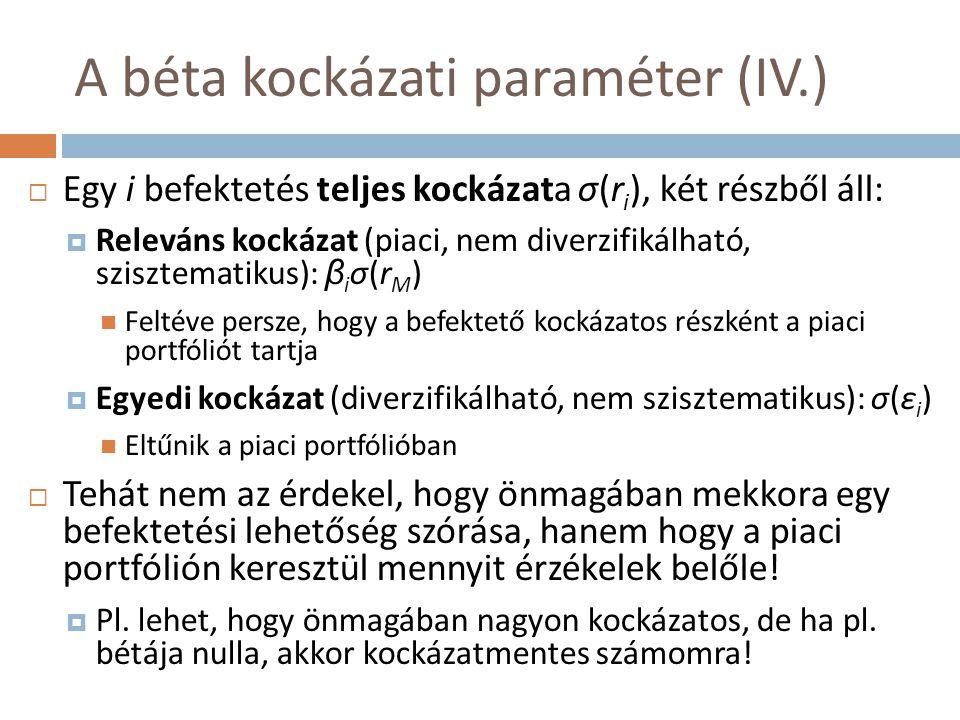 A béta kockázati paraméter (IV.)