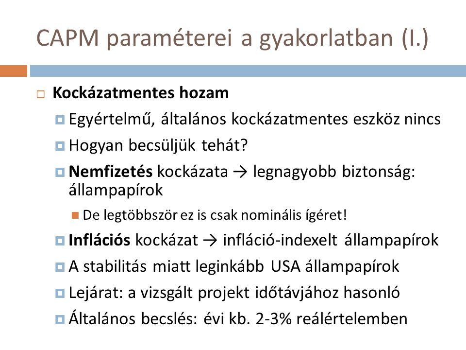 CAPM paraméterei a gyakorlatban (I.)