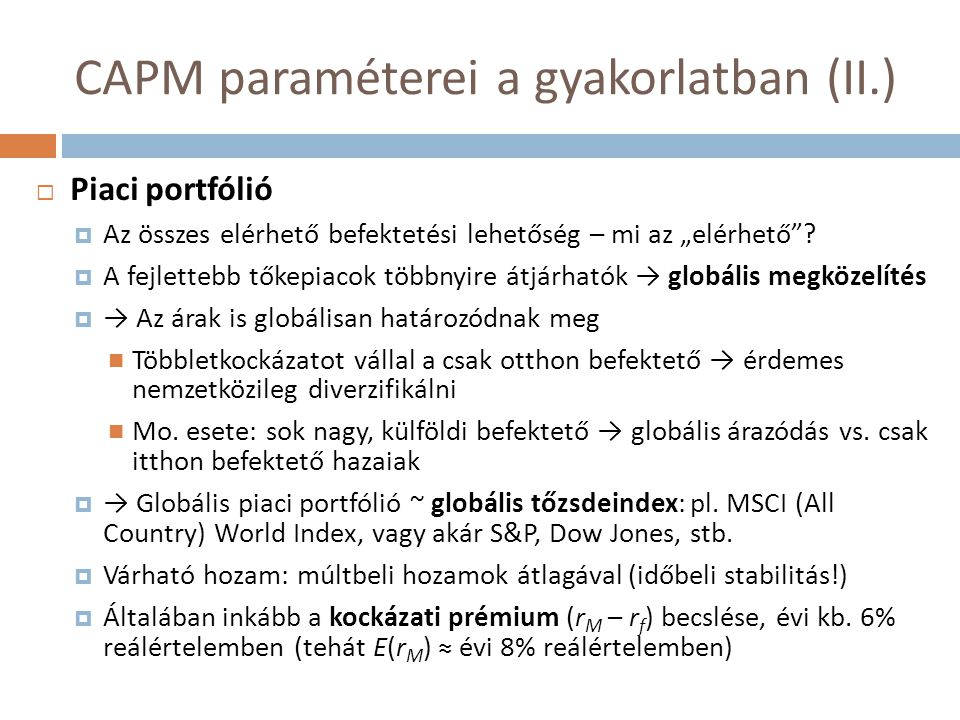 CAPM paraméterei a gyakorlatban (II.)