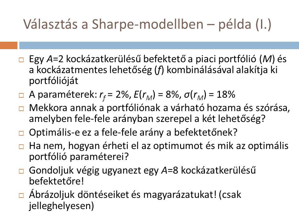 Választás a Sharpe-modellben – példa (I.)