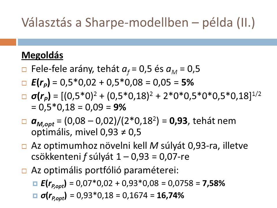 Választás a Sharpe-modellben – példa (II.)