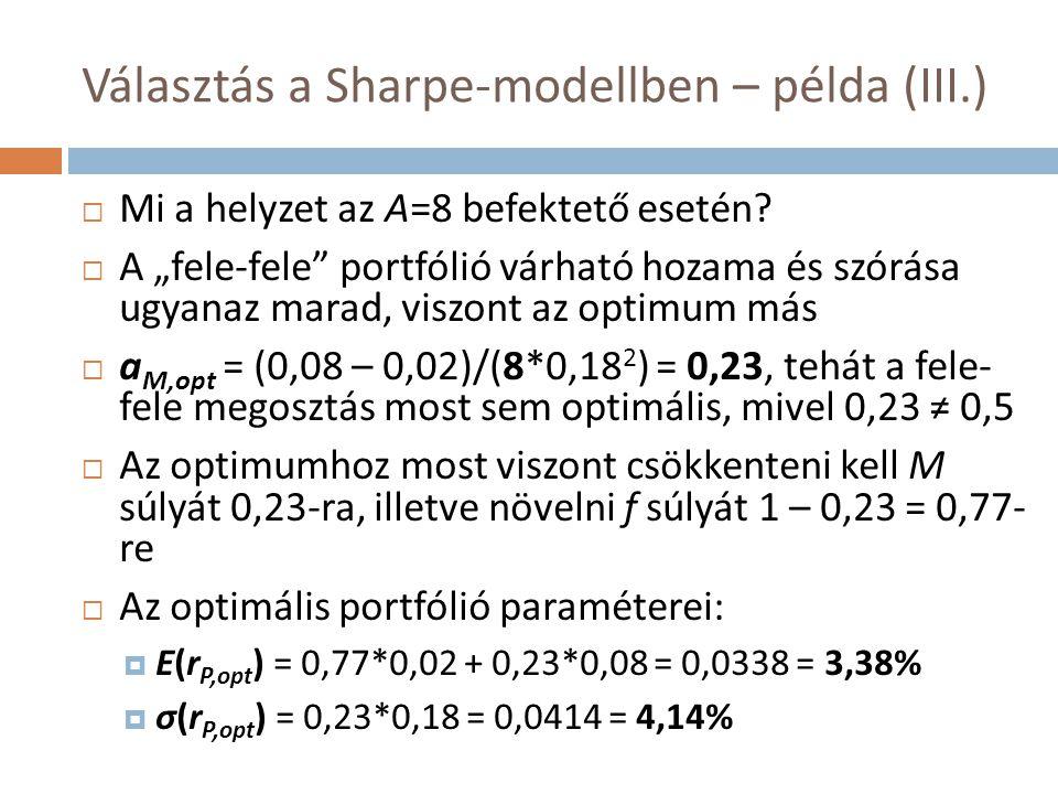 Választás a Sharpe-modellben – példa (III.)