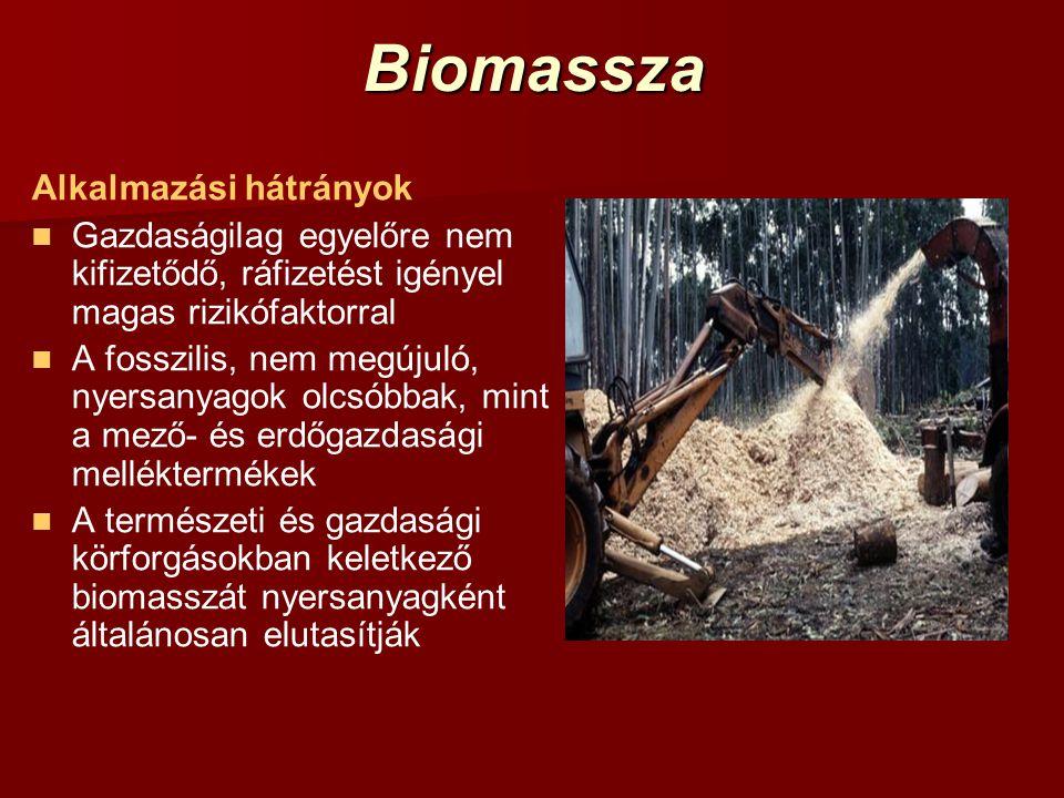 Biomassza Alkalmazási hátrányok