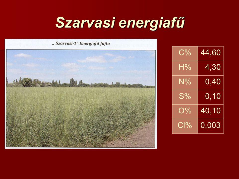 Szarvasi energiafű C% 44,60 H% 4,30 N% 0,40 S% 0,10 O% 40,10 Cl% 0,003