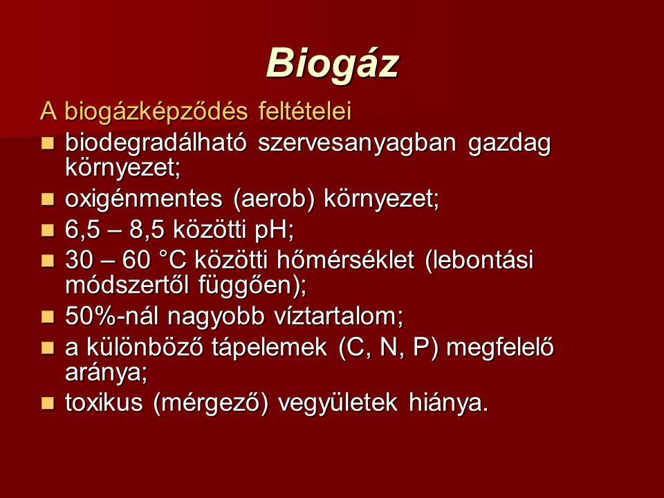 Biogáz A biogázképződés feltételei