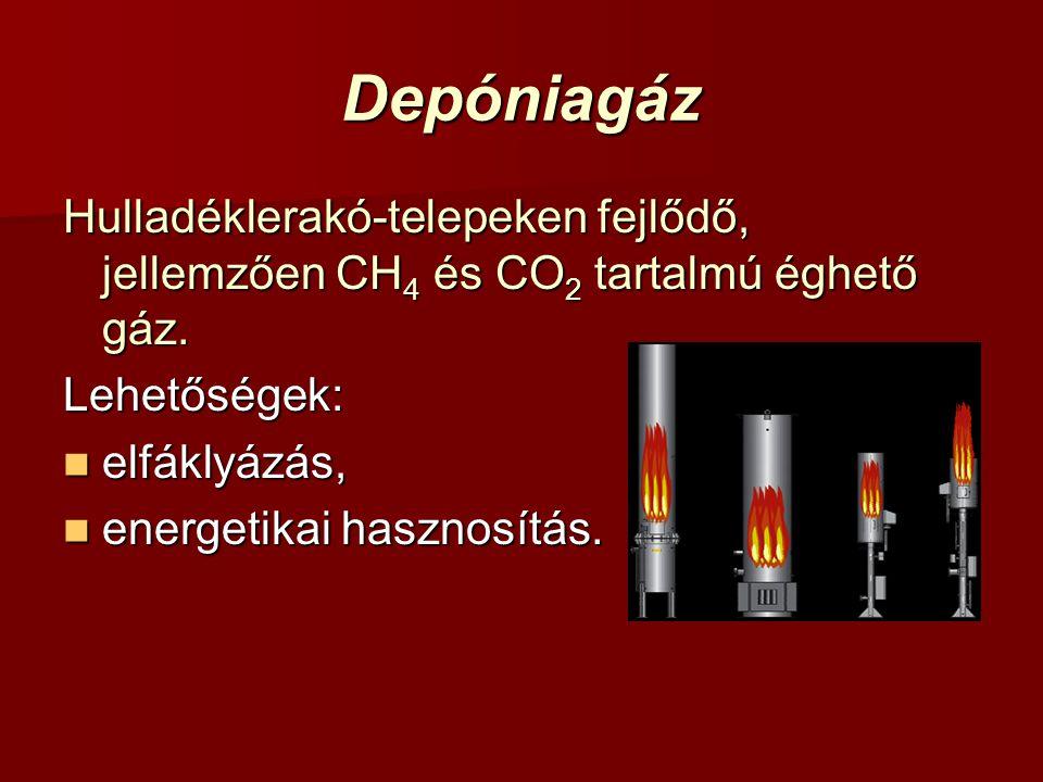 Depóniagáz Hulladéklerakó-telepeken fejlődő, jellemzően CH4 és CO2 tartalmú éghető gáz. Lehetőségek: